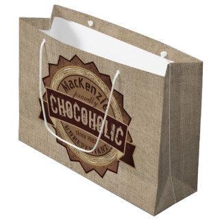 Sacola Para Presentes Grande Logotipo de Brown do crachá do Grunge do amante do