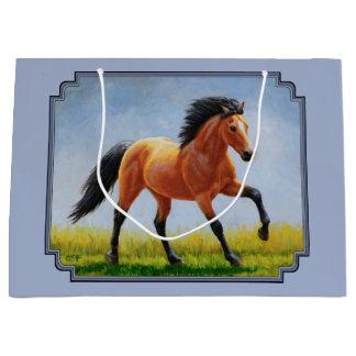 Sacola Para Presentes Grande Luz Running do cavalo do Buckskin - azul