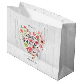 Sacola Para Presentes Grande Madeira branca & chá de fraldas floral cor-de-rosa