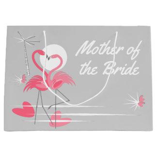 Sacola Para Presentes Grande Mãe do amor do flamingo da noiva grande