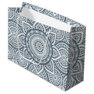 Sacola Para Presentes Grande Mandala floral branca azul geométrica
