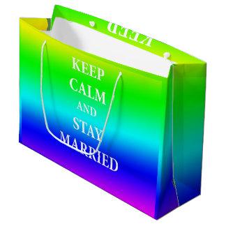 Sacola Para Presentes Grande Mantenha a calma e permaneça o saco feito sob