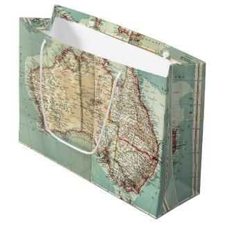 Sacola Para Presentes Grande Mapa detalhado do continente australiano antigo do