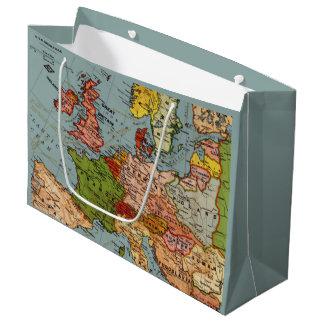 Sacola Para Presentes Grande Mapa do vintage de Europa na cor
