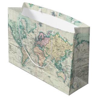 Sacola Para Presentes Grande Mapa do vintage do mundo (1801)