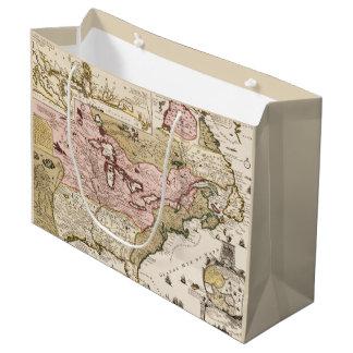 Sacola Para Presentes Grande Mapa francês medieval América de Quebeque/France