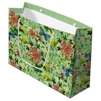 Sacola Para Presentes Grande Margaridas e borboletas da aguarela