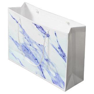 Sacola Para Presentes Grande Mármore azul e branco