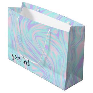 Sacola Para Presentes Grande mármore branco roxo azul cor-de-rosa colorido