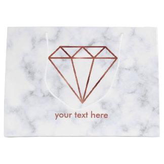 Sacola Para Presentes Grande mármore cor-de-rosa do branco do diamante do ouro