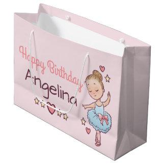 Sacola Para Presentes Grande Menina pequena da bailarina do balé do aniversário