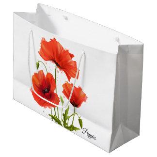 Sacola Para Presentes Grande Minhas papoilas das flores