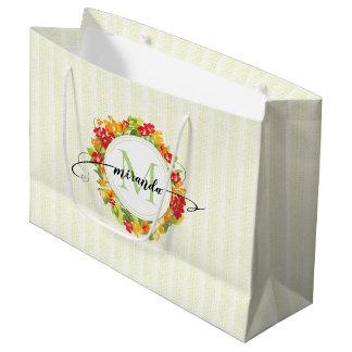 Sacola Para Presentes Grande Monograma floral da caligrafia da grinalda