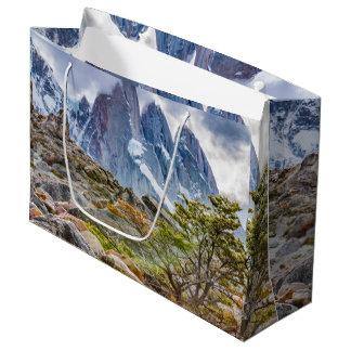 Sacola Para Presentes Grande Montanhas nevado no EL Chalten Argenti de Laguna