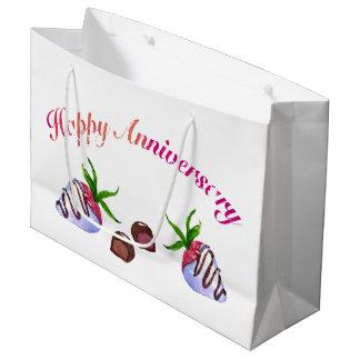 Sacola Para Presentes Grande Morangos com cobertura em chocolate do aniversário