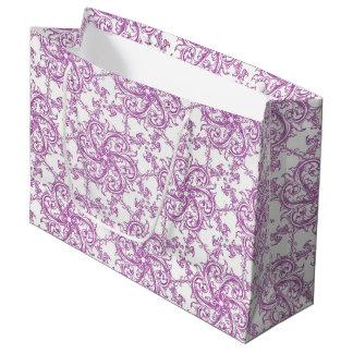 Sacola Para Presentes Grande Motivo cor-de-rosa romântico do vintage
