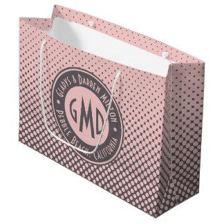 Sacola Para Presentes Grande Na moda cinzento cor-de-rosa milenar do monograma