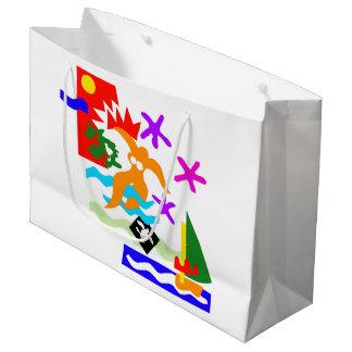 Sacola Para Presentes Grande Nadador do verão - grande saco lustroso do