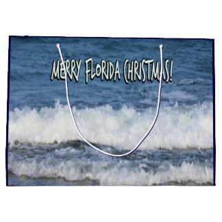 Sacola Para Presentes Grande Natal alegre de Florida sobre o oceano