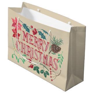 Sacola Para Presentes Grande Natal botânico tradicional (bege)