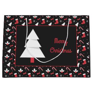 Sacola Para Presentes Grande Natal branco do quadro da árvore