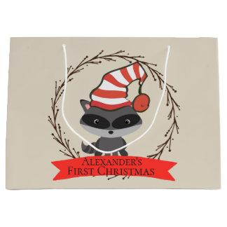 Sacola Para Presentes Grande Natal do bebê do guaxinim da criatura da floresta