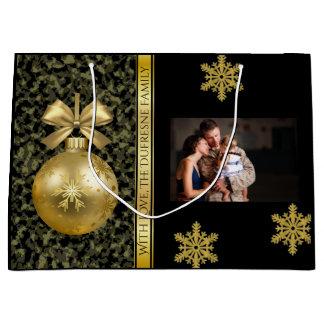 Sacola Para Presentes Grande Natal elegante da camuflagem w/Photo