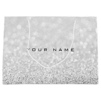 Sacola Para Presentes Grande Nome branco de prata cinzento do presente do favor