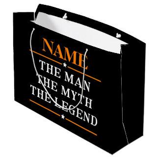 Sacola Para Presentes Grande Nome personalizado o homem o mito a legenda