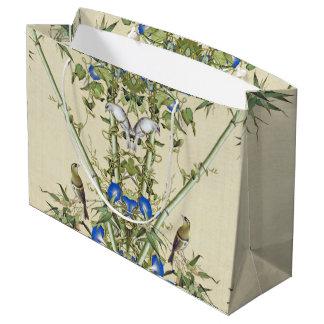 Sacola Para Presentes Grande O azul de bambu asiático floresce o saco do