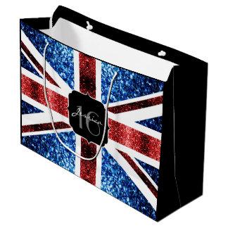 Sacola Para Presentes Grande O azul vermelho da bandeira BRITÂNICA sparkles o