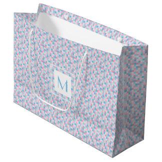 Sacola Para Presentes Grande O monograma cor-de-rosa e o azul esquadram o