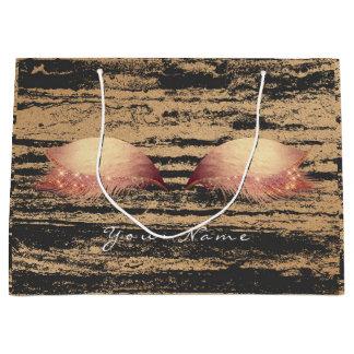 Sacola Para Presentes Grande O ouro cor-de-rosa cora a composição de mármore