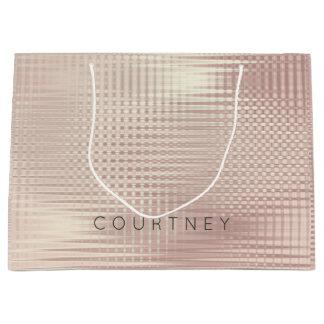 Sacola Para Presentes Grande O ouro cor-de-rosa cora grade metálica abstrata