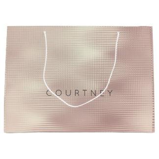 Sacola Para Presentes Grande O ouro cor-de-rosa cora grade metálica do presente
