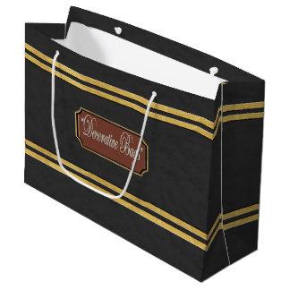 Sacola Para Presentes Grande O ouro enegrecido alinha o grande saco do presente