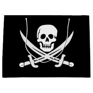 Sacola Para Presentes Grande O pirata/crânios/espadas feitos sob encomenda da