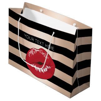 Sacola Para Presentes Grande o preto cor-de-rosa do ouro dos lábios vermelhos