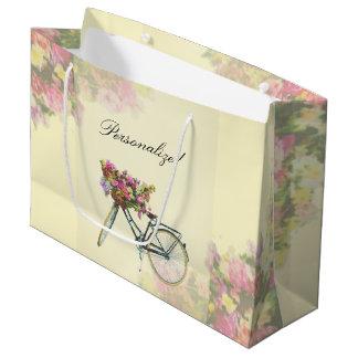 Sacola Para Presentes Grande O primavera do vintage floresce a bicicleta