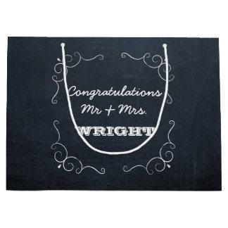 Sacola Para Presentes Grande O quadro ilumina o grande casamento personalizado