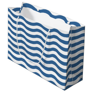 Sacola Para Presentes Grande O teste padrão azul branco do marinho da onda
