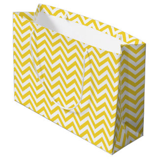 Sacola Para Presentes Grande O ziguezague amarelo e branco listra o teste