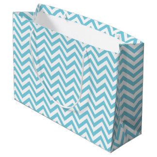Sacola Para Presentes Grande O ziguezague azul e branco listra o teste padrão