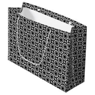 Sacola Para Presentes Grande O ziguezague branco preto bonito circunda o teste