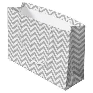 Sacola Para Presentes Grande O ziguezague cinzento e branco listra o teste