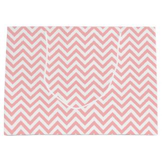 Sacola Para Presentes Grande O ziguezague cor-de-rosa e branco listra o teste