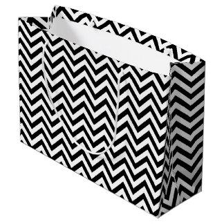 Sacola Para Presentes Grande O ziguezague preto e branco listra o teste padrão