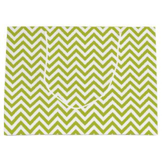 Sacola Para Presentes Grande O ziguezague verde e branco listra o teste padrão