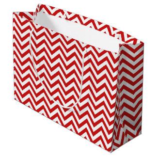 Sacola Para Presentes Grande O ziguezague vermelho e branco listra o teste