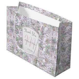 Sacola Para Presentes Grande Obrigado floral do casamento tema damasco da